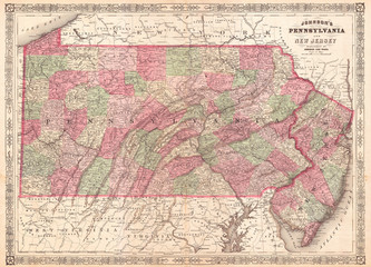 1866, Johnson Map of Pennsylvania and New Jersey