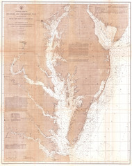 Fototapete - 1866, U.S. Coast Survey Map of the Chesapeake Bay and Delaware Bay