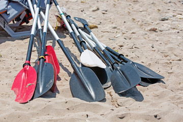boat oars lie on the sand on the beach by the sea