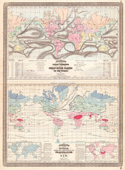 1870, Johnson Map of the World showing Temperature and Ocean Currents