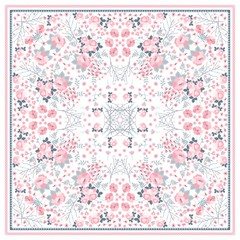 Beautiful square pattern for shawl with tender pink flowers on white background. Vector illustration.