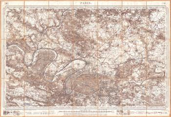 1886, Depot de la Guerre Pocket Map of Paris and Environs
