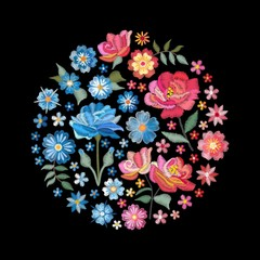 Embroidery floral round pattern with contrast flowers in pink and blue colors. Vector composition isolated on black background for fashion design.