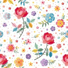 Embroidery seamless pattern with beautiful bright flowers on white background. Fashion design. Vector embroidered illustration.