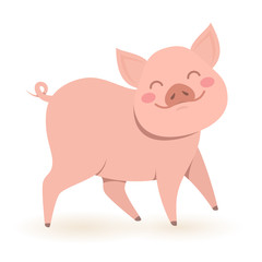 Funny little pig, chinese symbol of the year 2019. Vector