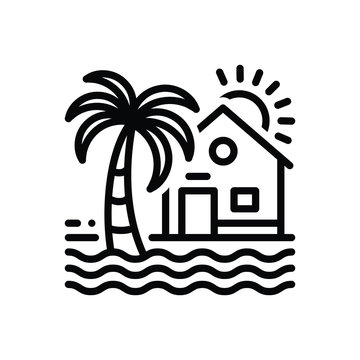 Black line icon for beach house