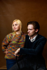 Young couple: dramatic portrait. Girl and boy together