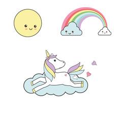 Cute unicorn - kawaii illustration