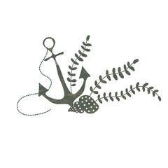 Изолированное графическое текстурированное изображение якоря, ракушки и водорослей. Приглашения, реклама, логотип.