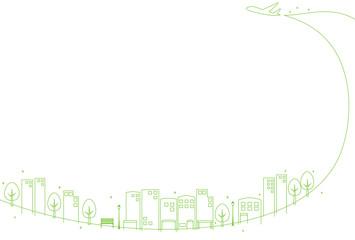 輝く都市の町並み 飛行機雲