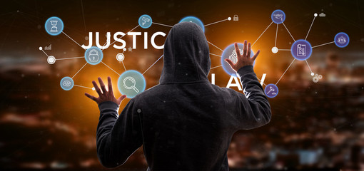 Hacker man holding Cloud of justice and law icon bubble with data 3d rendering