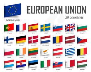 European Union flag . EU and membership . Europe map background . Vector