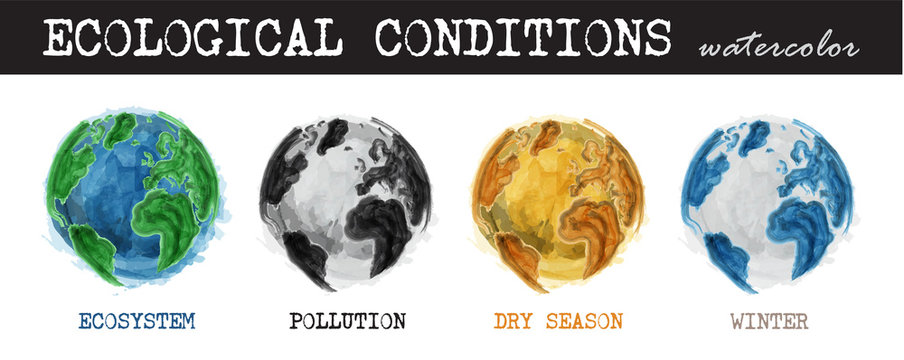 Ecological conditions . Realistic watercolor painting design . 4 condition of world are ecosystem , pollution , dry season , winter . Isolated background . Environment and Global warming concept