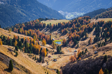 Autumn colors in Funes Valley, Bolzano province, South Tyrol, Italy