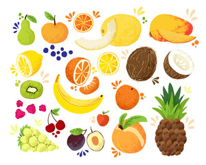 Set of colorful hand draw fruits tropical sweet fruits, and citrus fruit illustration. Apple, pear, orange, banana, pineapple, grapes, lemon, mango. Vector colored sketch illustration, isolated on