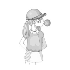 Colorless young teen girl in a baseball cap with headphones blowing bubblegum. Grayscale little girl vector cartoon hand draw illustration. Teenage girl, rebel girl illustration. Pre teen rebel grl