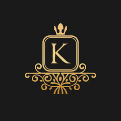 The king with crown logo inspiration, letter k luxury design template in gold metallic