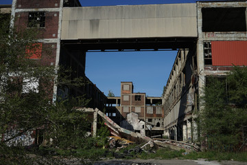 Detroit, Michigan, United States - October 2018: View of the abandoned Packard Automotive Plant in Detroit. The Packard Plant sprawls multiple city blocks and measures in at 3.5 million square feet