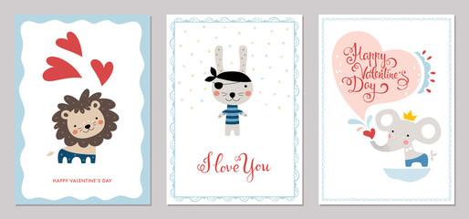 Valentine's Day card templates design. Vector illustration.