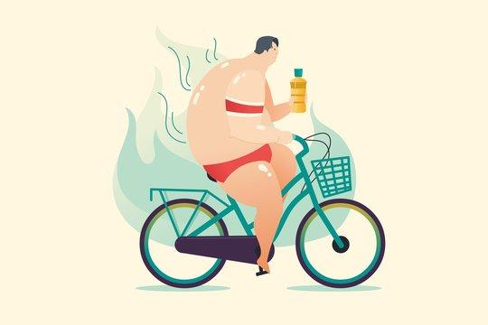 fat man biking to weight loss program
