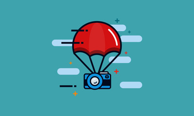 Parachute with Camera Photography Delivery Concept