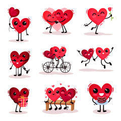 Flat vector set of cute humanized hearts in different actions. Couples in love. Valentines day theme