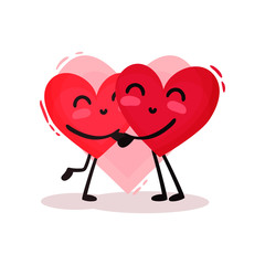 Two hugging red hearts. Adorable couple in love. Valentines day theme. Flat vector design