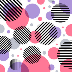 Abstract modern fashion pink and purple circles pattern with black lines diagonally on white background.