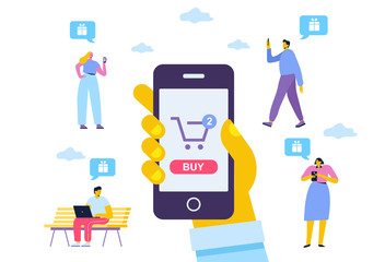 Online Shopping vector set. Different People do mobile shopping. Human hand using mobile phone for purchase. Flat Vector cartoon illustration