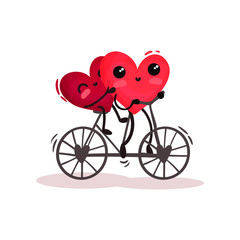 Two adorable humanized red hearts riding tandem bike. Romantic couple. Valentines day theme. Flat vector design