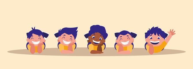 group of cute little boys happy