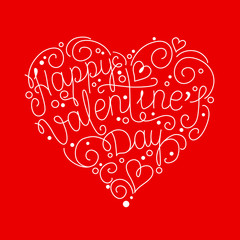 Vector lettering design for Valentines Day greeting card