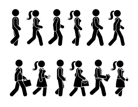 Stick figure walking man and woman vector icon set. Group of people moving forward sequence pictogram