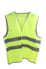 Construction hard helmet and yellow vest on white background