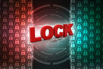 key and lock . 3D illustration