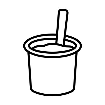 Yogurt / yoghurt cup with spoon flat vector icon for food apps and websites