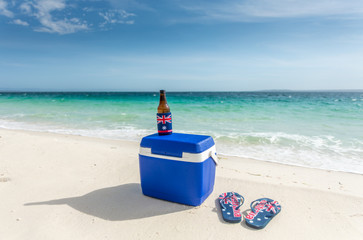 Esky thongs and a cold drink on the beach in Australia