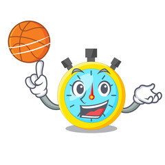 With basketball stopwatch in the cartoon shape funny