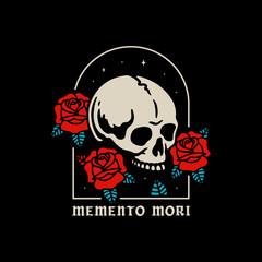 SKULL WITH ROSES MEMENTO MORI COLOR BLACK BACKGROUND