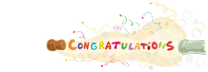 enchanting congratulations. abstract vector banner with the words flying out with a cork from the bottle