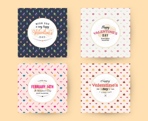 Set of Happy Valentines Day typography greeting cards. Vector design template with seamless background and romantic signs