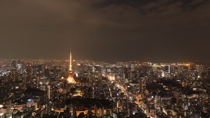 Tokyo, Japan aerial cityscape view of Tokyo Tower at night