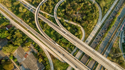 Aerial Expressways that are heavily traveled.