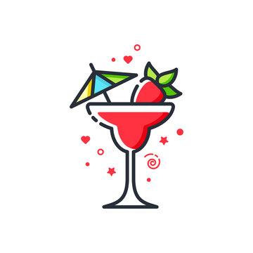 Vector icon of strawberry margarita cocktail. Suitable for advertising, bar menu decor, application design