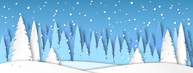 Spoed Fotobehang Blauw Banner for social networks caps. Winter landscape with snow. Spruce forest in the style of paper cut. Vector illustration