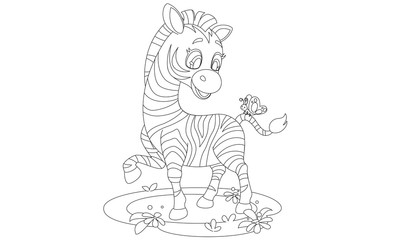 Baby Zebra outline drawing to color