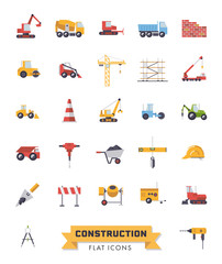 Flat Design Construction Industry isolated vector Icons Set