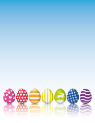 Easter Eggs with various patterns and reflection poster