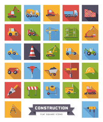 Flat Design Construction Industry Square Vector Icons Set