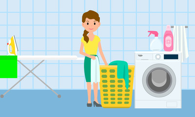 House laundry concept banner. Flat illustration of house laundry vector concept banner for web design